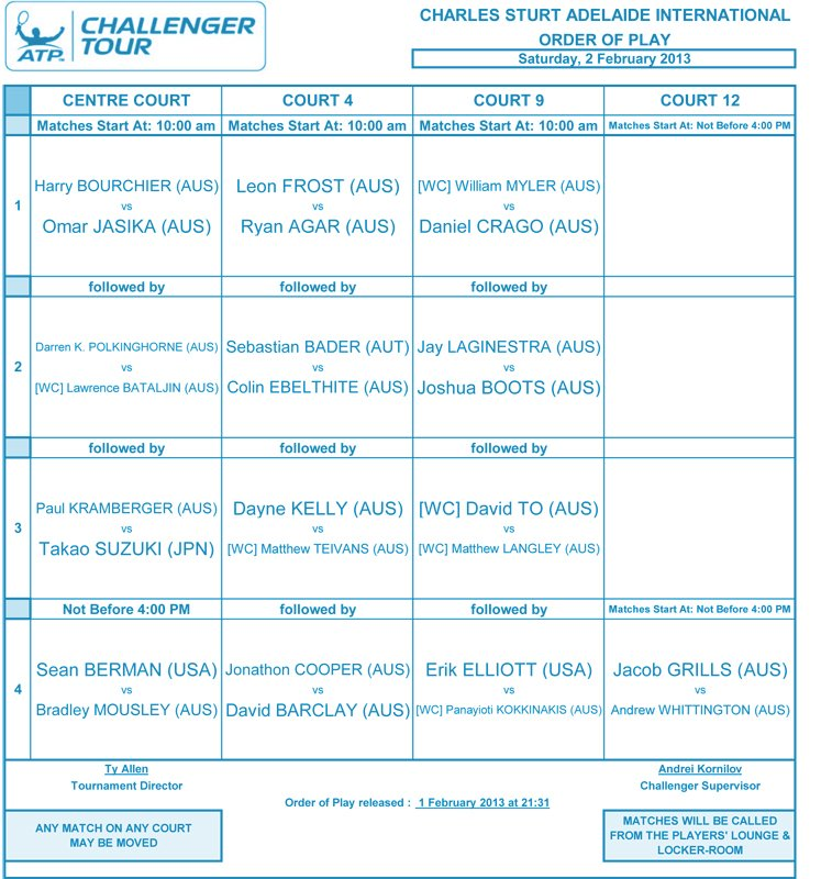 Day 1 - Order of Play