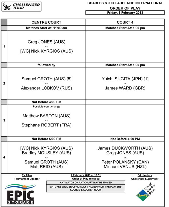 Order of Play.