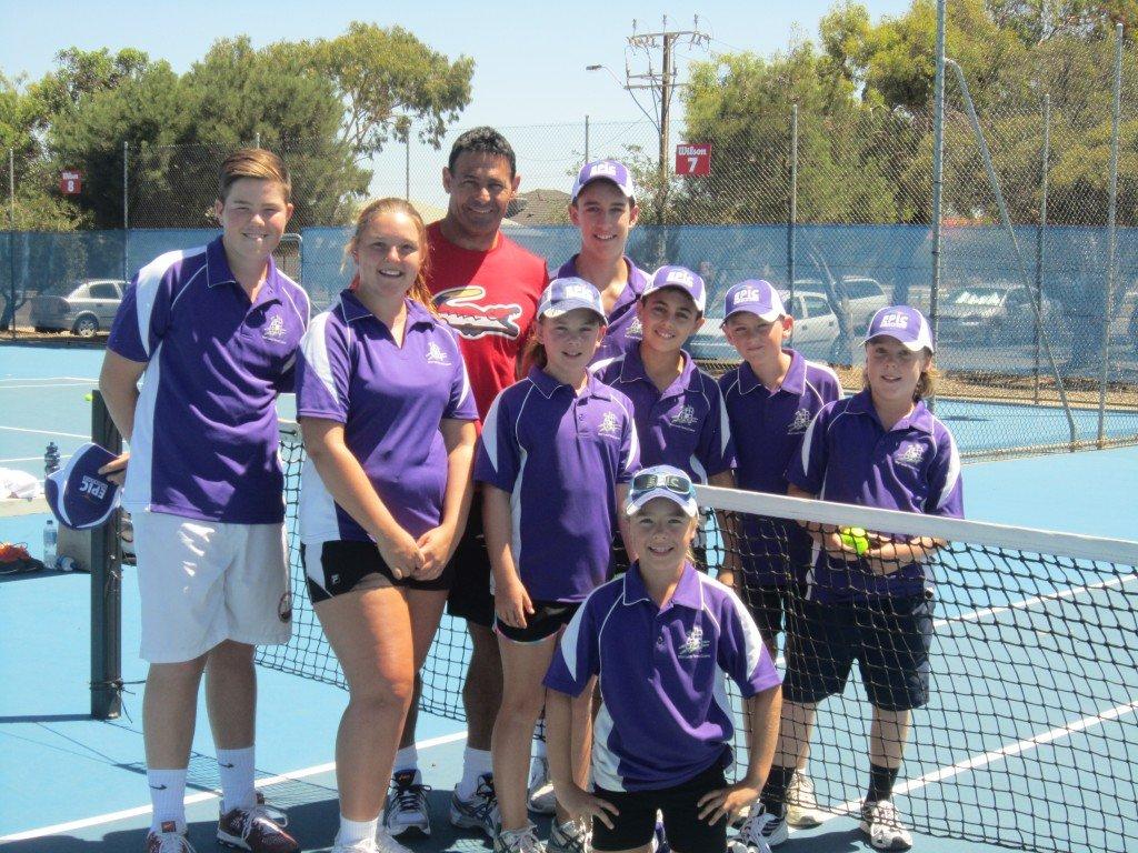 Roger Rasheed, Tournament Ambassador, with the Charles Sturt Adelaide International Ballkids. Photo - Karina Loxton