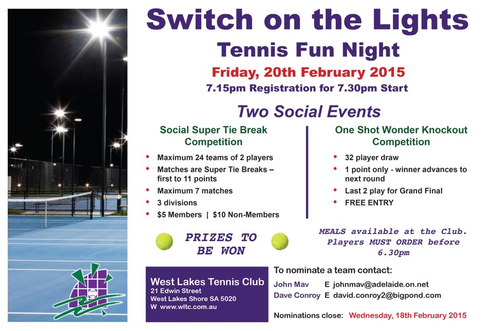 Switch on the Lights Tennis Fun Night